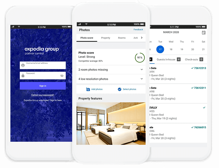 Screenshots of Expedia Group Partner Central App on smartphone screens