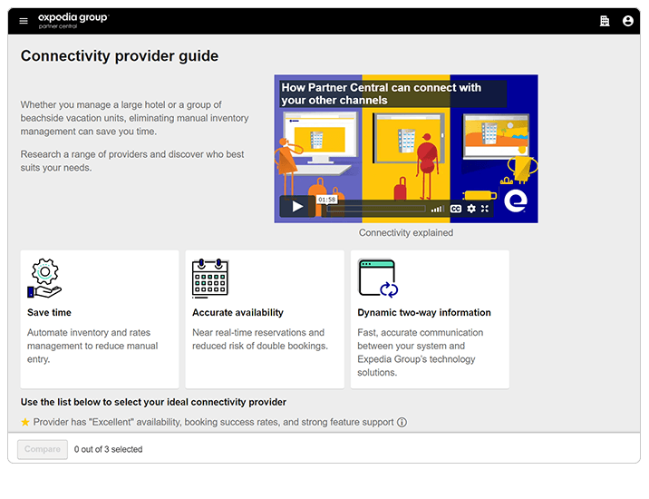 Screenshot of Connectivity provider guide landing page in Expedia Group Partner Central