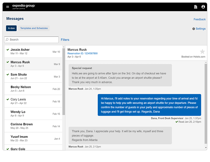 Screenshot of Messages tool in Partner Central
