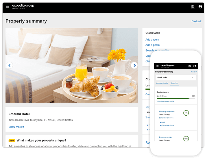 Screenshot of Property summary page in Expedia Group Partner Central